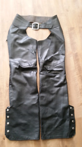 black leather shaps