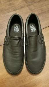 Black on Black Leather Vans Slip-ons