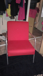Red Ikea chair ,futon,and mote