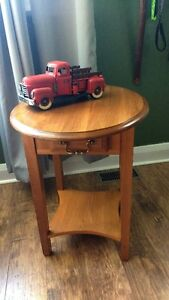 gorgeous wooden side table with drawer and shelf