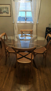 Glass and Wood round dinette table for sale