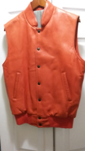 Men's Roots Red Leather Vest