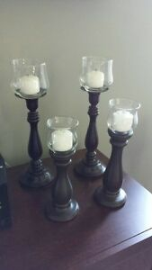 4 WOODEN CANDLE HOLDERS