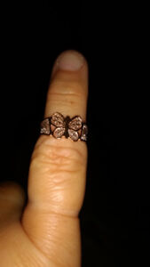 Rose and white gold butterfly ring