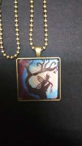 """""""Thinking of you"""" square pendant and chain"""