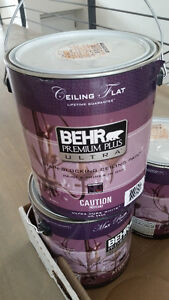 3 Gallons of white Behr Premium Flat ceiling paint NEW
