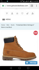 "Timberland Men's Heritage 6"" Warm-Lined Boot in Wheat Nubuck"