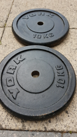 2 x 10kg standard 1 inch plates
