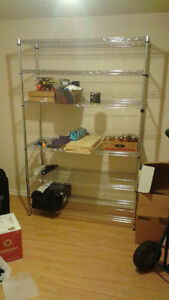 "Sturdy metal shelving unit – 72""x48""x18"", 6 shelves"