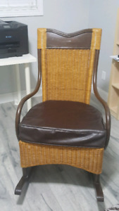 Wicker and leather rocking chair