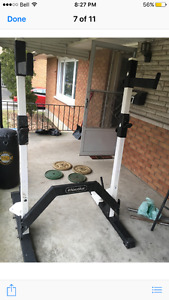 Squat rack, Adjustable bench, weights