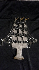 LARGE CRYSTAL SHIP WITH 24 KARAT GOLD TRIM ON SAILS AND BOTTOM