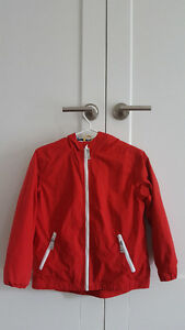 Size 10-12 Raincoat w Hood, Red w Blue/white striped Lining