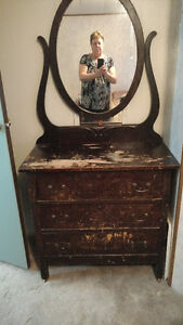 vintage dresser with oval mirror