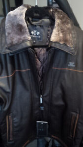 Men's Brown Leather Jacket with Tan Stripe!