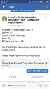 Amazing Charley Puth Concert Tickets !
