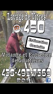 Lavage de vitres et vidanges de gouttieres  438-495-7369