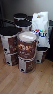 10 cans of Dulux Classic Burgundy paint