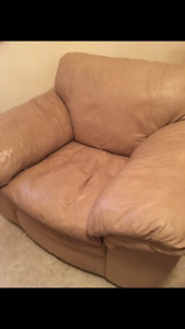 Italian Leather Couch and chair -stitched not bonded leather