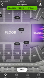 Foo fighters ticket best section !