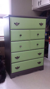 Green and brown tallboy dresser and armoire