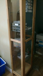 Pine wood glass display cabinet
