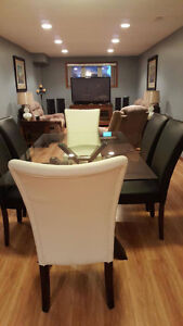6 piece glass dining room table