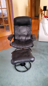 Leather like chair and footstool