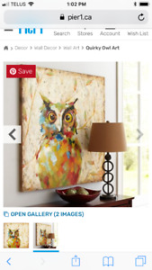Quirky Owl Art from Pier One NEW