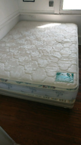 Queen sized mattress, box spring and bed frame for sale