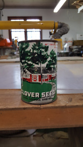 """white clover seed"" tin can."