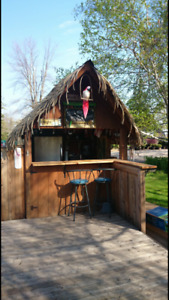 Tiki Bar with Synthetic Thatch Roof