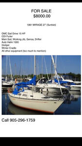 1981 Mirage 27' Sailboat (Sunkist) **PRICED FOR FAST SALE!!