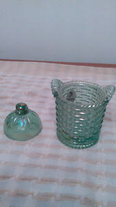 Fenton Made In USA Green Opalescent Glass Trinket Box Vintage