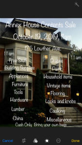 Annex House Contents Sale, October 19, 2019, 11 am, 175 Lowther