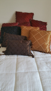 Rich coloured pillows - merlot, black, chocolate & gold