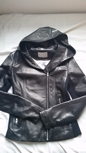 NWOT Soia & Kyo Beka Leather Hooded Jacket - Size XXS
