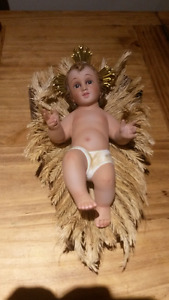 Hand Made Lovely Baby Jesus on Wooded Crib