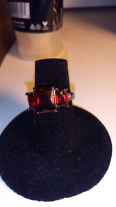 Size 5.5 Red Ruby Black Gold Filled Wedding Ring