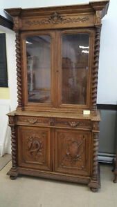 antique french hunting cabinet