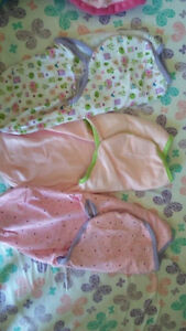 3 SwaddleMe woodland, pink, and polka-dots
