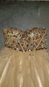 Gold Jeweled Prom Dress