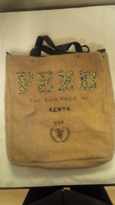 FEED burlap lined bag  ....  new