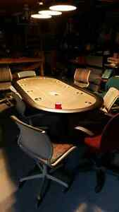 Poker table. Chairs and chips