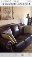 LARGE BROWN LEATHER COUCH FOR SALE