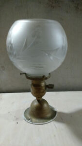 set of two Vintage lamps, frosted globes