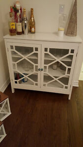 Brand new white bar or display cabinet with anthropologie knobs