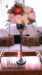 15 New chrome centerpiece vase for events