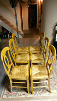 Set of 6 Maple Dining Chairs with Rattan Seating From Italy