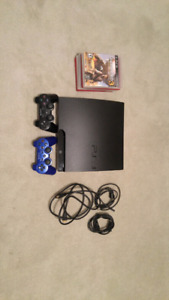 Sony PlayStation PS3 Slim 160GB + 2 Controllers and Games!